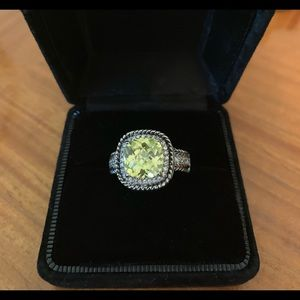 Technibond silver ring green stone cz accents 10
